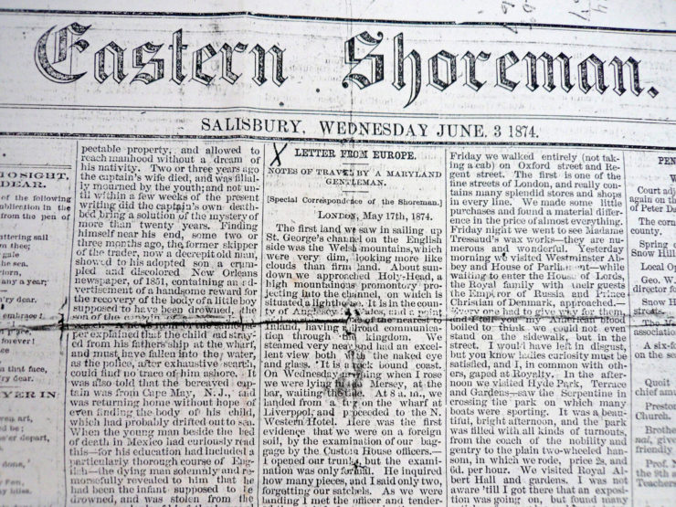 Eastern Shoreman Newspaper Article By Colonel Leonard