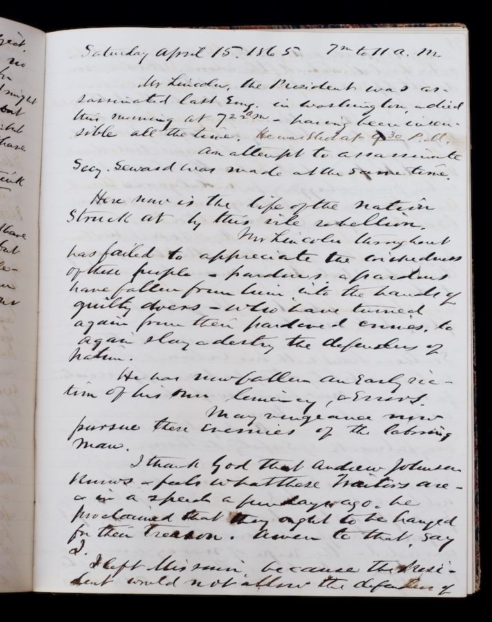 Franklin Dick's Journal Page About Lincoln's Assassination