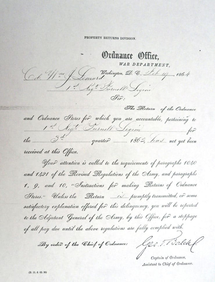 Government Form Sent To Colonel Leonard For Listing The Property Lost In Stuart's Raid For Which He Was Responsible