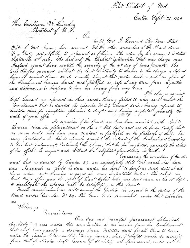 Letter To President Lincoln Exonerating Colonel Leonard As Provost Marshal Page 1