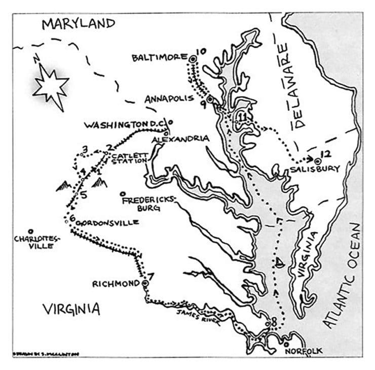 Map Of Col. Leonard's Journey As A Prisoner Of War
