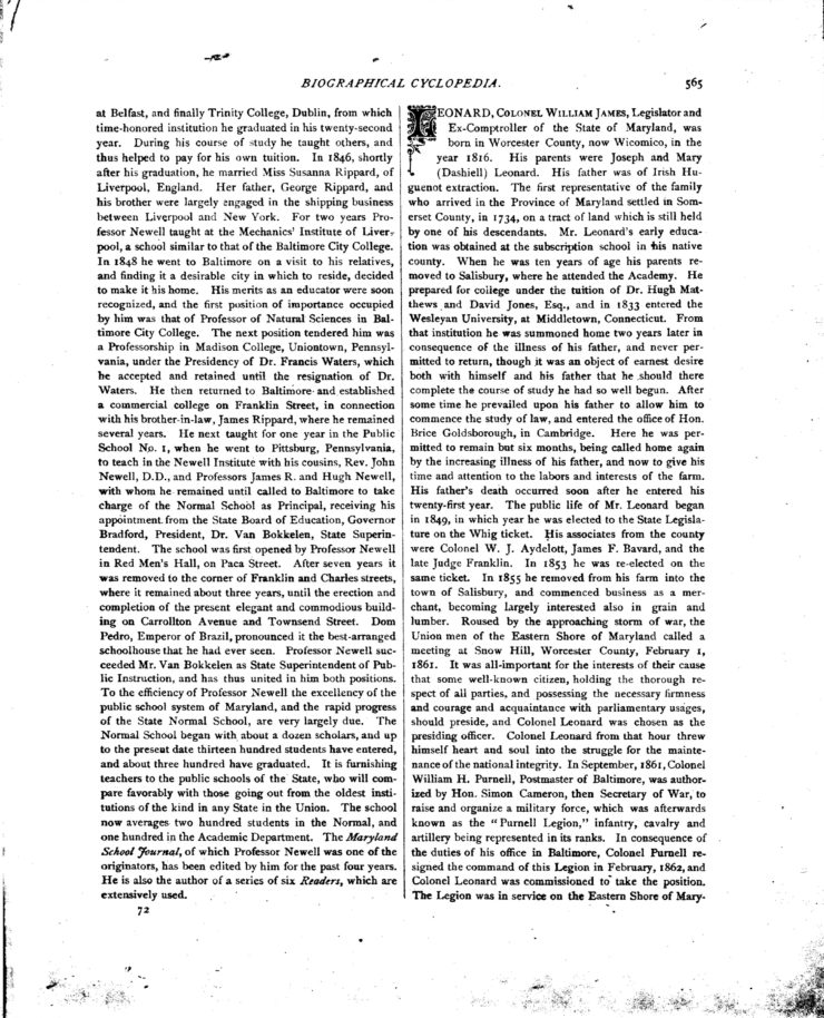 The Biographical Cyclopedia Page 565 About Colonel Leonard