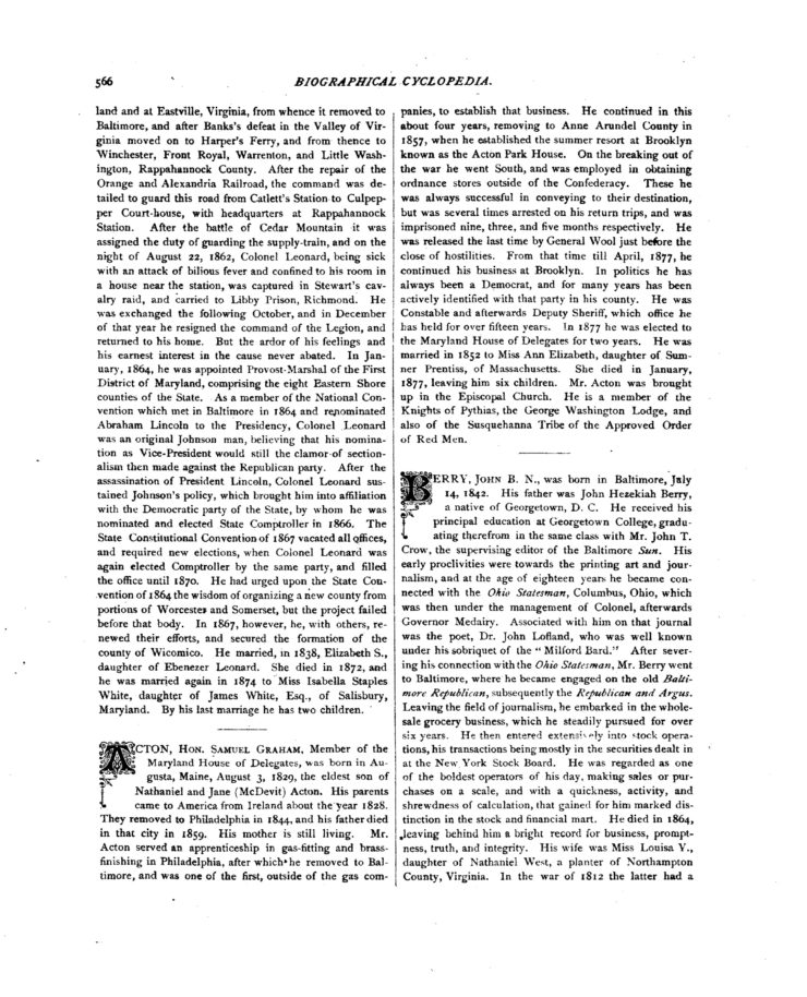 The Biographical Cyclopedia Page 566 About Colonel Leonard