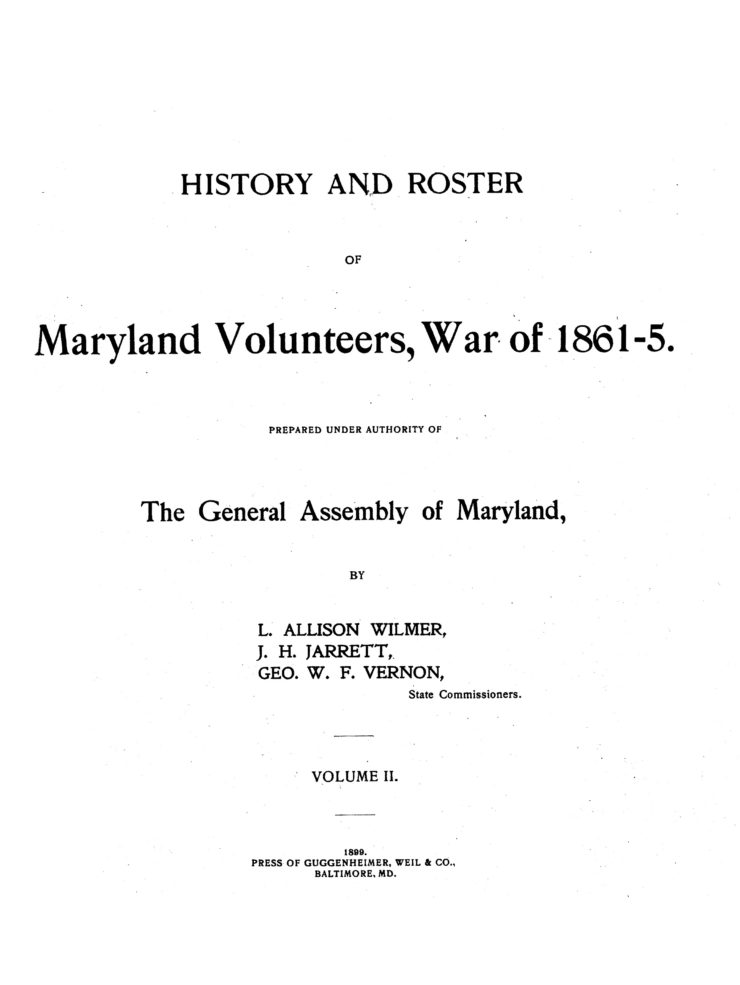 Title Page Of History And Roster Of Maryland Volunteers, War Of 1861-5