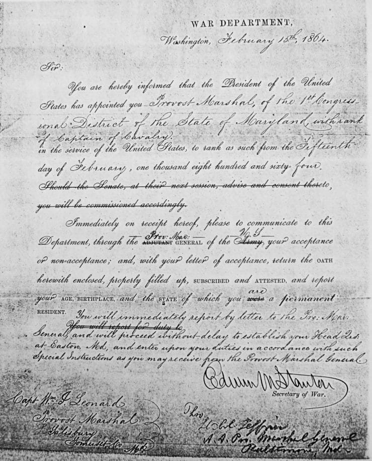 War Department Document Appointing Colonel Leonard As Provost Marshal