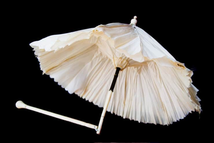 White Silk Parasol Of Myra Dick With Ivory Handle, Photo Credit: R.L. Geyer